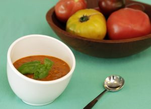 This Aug. 4, 2016 photo shows tomato and watermelon gazpacho, styled by Sarah Abrams, at the Institute of Culinary Education in New York. This dish is from a recipe by Elizabeth Karmel. (AP Photo/Richard Drew)